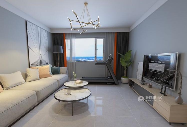 120㎡  三室  现代-客厅效果图及设计说明
