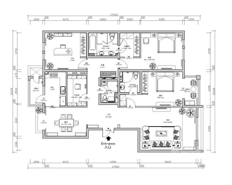 195㎡  四室   现代-平面设计图及设计说明
