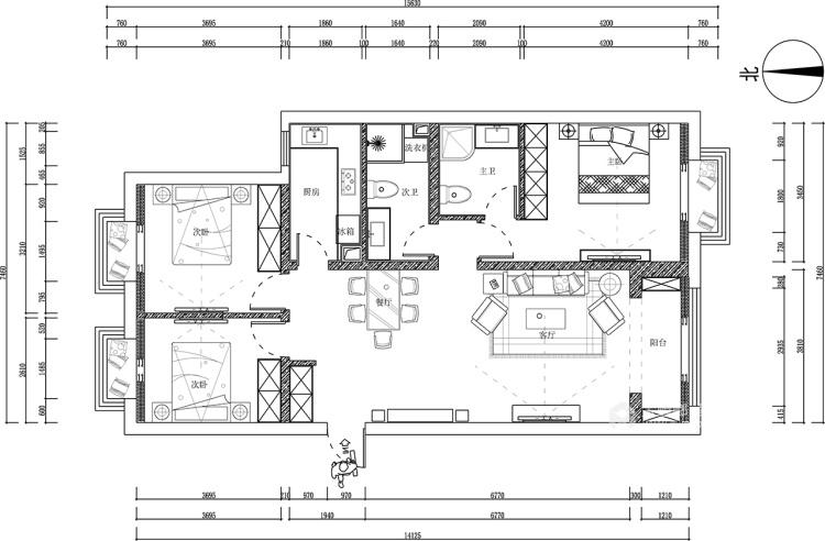 94㎡ 三室两厅  中式风格-平面设计图及设计说明