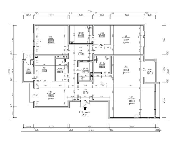 195㎡  四室   现代-业主需求&原始结构图