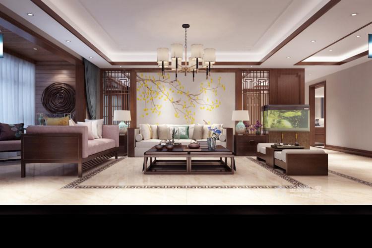 新中式大宅的典雅高贵-客厅效果图及设计说明