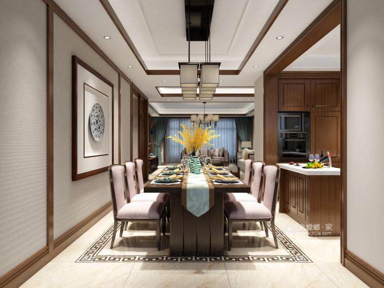 新中式大宅的典雅高贵-餐厅效果图及设计说明