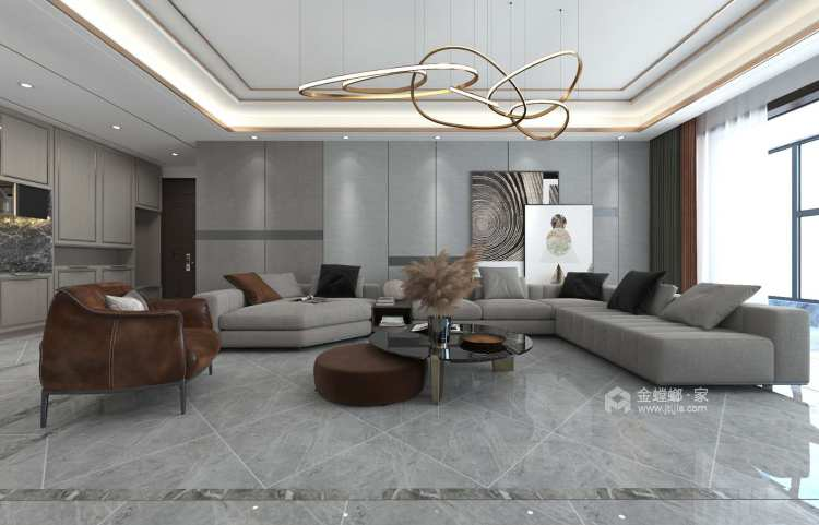 简洁大方现代好家-客厅效果图及设计说明