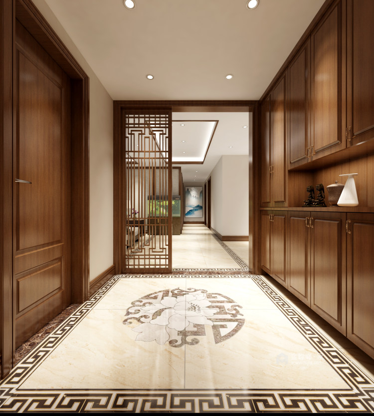 新中式大宅的典雅高贵-玄关