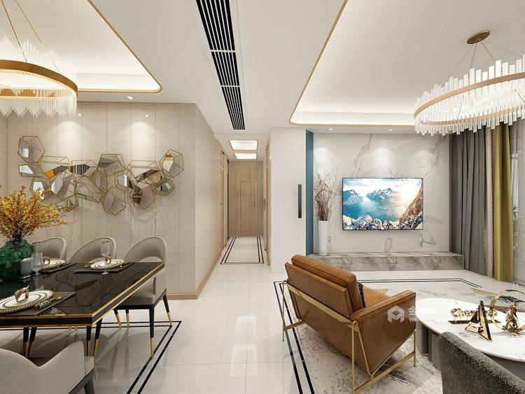 118平享受轻奢美好生活-客厅效果图及设计说明