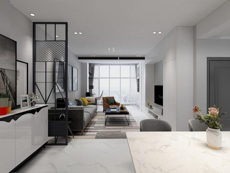 这就是我们最向往的现代极简风格!-客厅效果图及设计说明