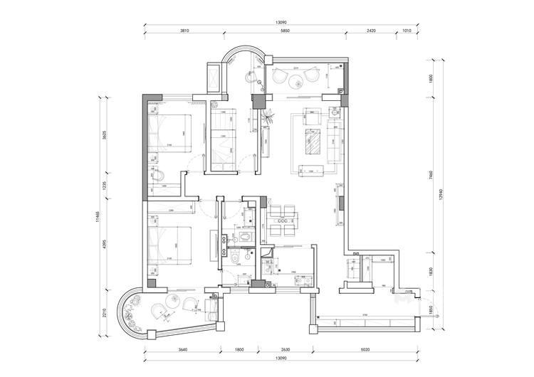 滨江国际张女士简美-平面设计图及设计说明