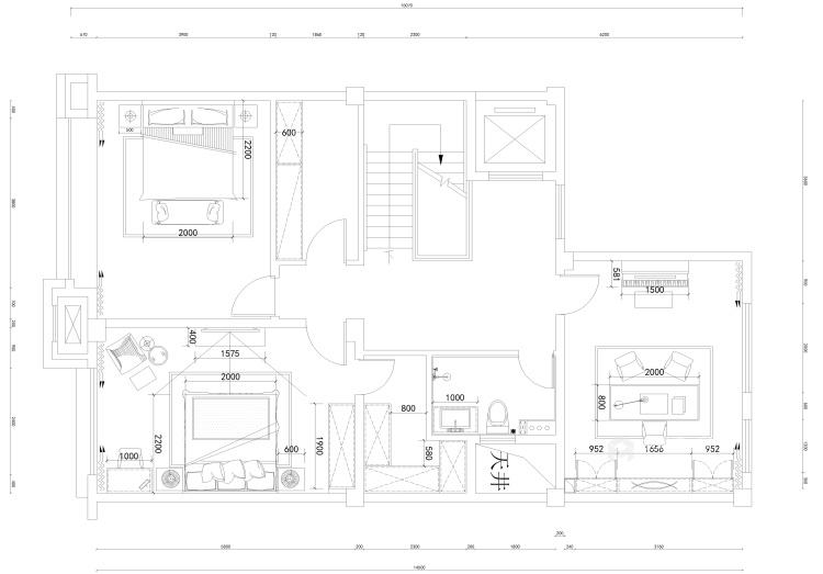 线条美感的清新简欧复式楼-平面设计图及设计说明