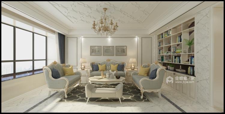 线条美感的清新简欧复式楼-餐厅效果图及设计说明
