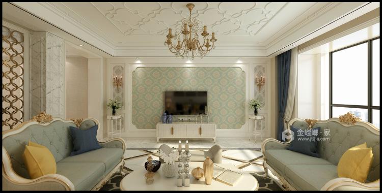 线条美感的清新简欧复式楼-客厅效果图及设计说明
