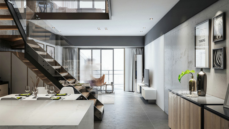 个性魅力128平现代别墅-餐厅效果图及设计说明