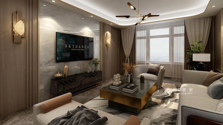 """最柔和的""""现代轻奢""""-客厅效果图及设计说明"""
