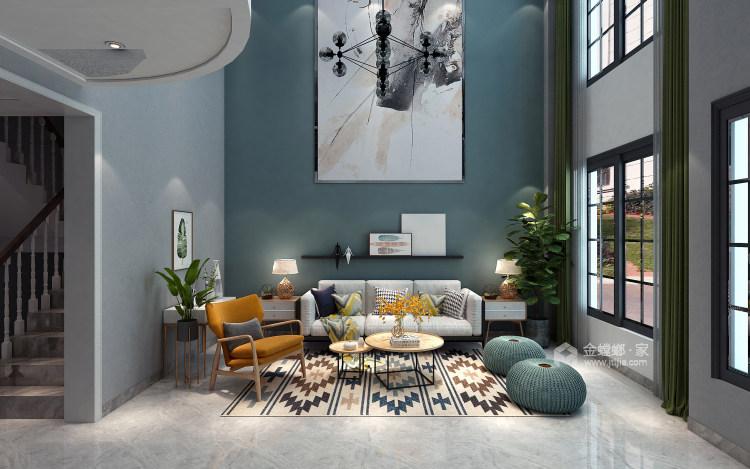 北欧也适合别墅-客厅效果图及设计说明