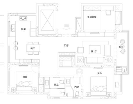 爱马仕橙点缀的现代轻奢家居-平面设计图及设计说明