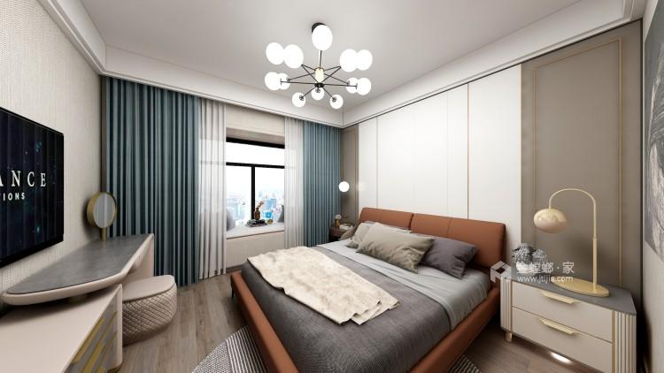 爱马仕橙点缀的现代轻奢家居-卧室效果图及设计说明