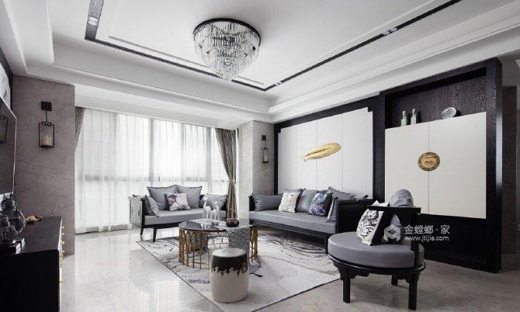 140平善水居新中式风格-客厅效果图及设计说明