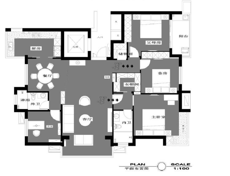 140平善水居新中式风格-平面设计图及设计说明