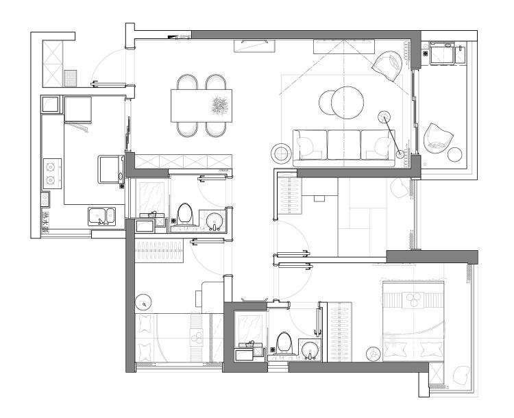 144平五坊园现代风格-黄浦江边,有你作伴,携手启程我们的旅途-平面设计图及设计说明