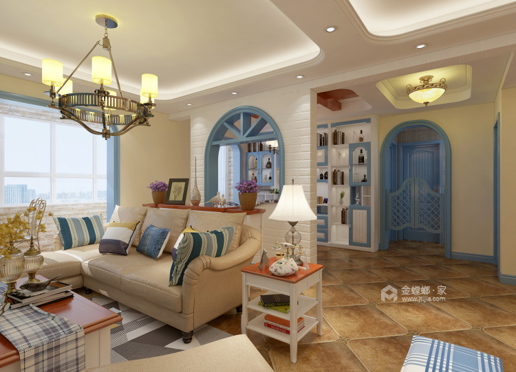 120平万佳天玺地中海风格-当家装爱上地中海的蓝天白云-客厅效果图及设计说明