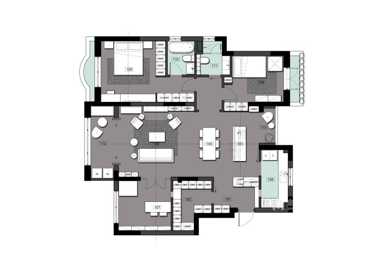 120平新城盛景现代风格-空间内存瞬间翻倍!-平面设计图及设计说明
