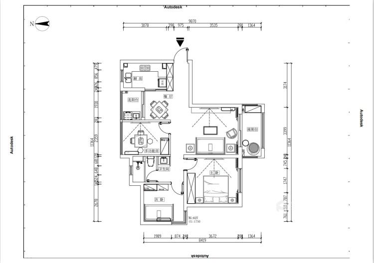120平星纳家园新中式风格-中式复古,意味深远-平面设计图及设计说明