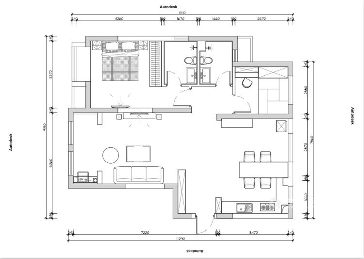 80平五浦汇地中海风格-别样演绎-平面设计图及设计说明