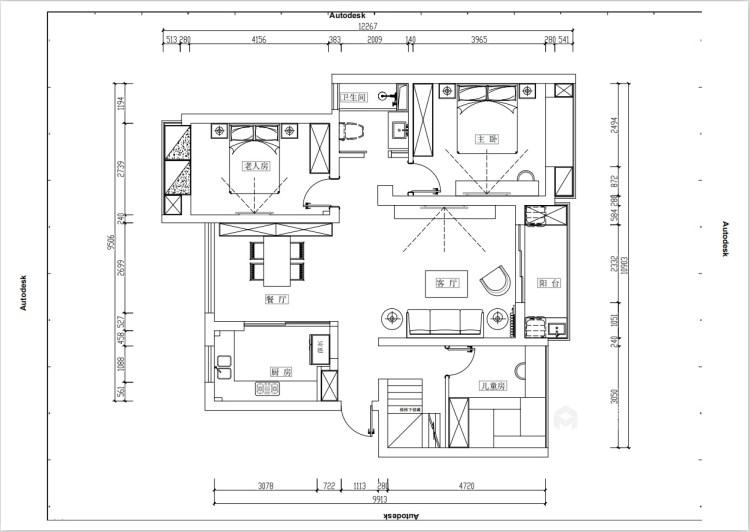 95平新城盛景现代风格-轻奢生活,你值得拥有-平面设计图及设计说明