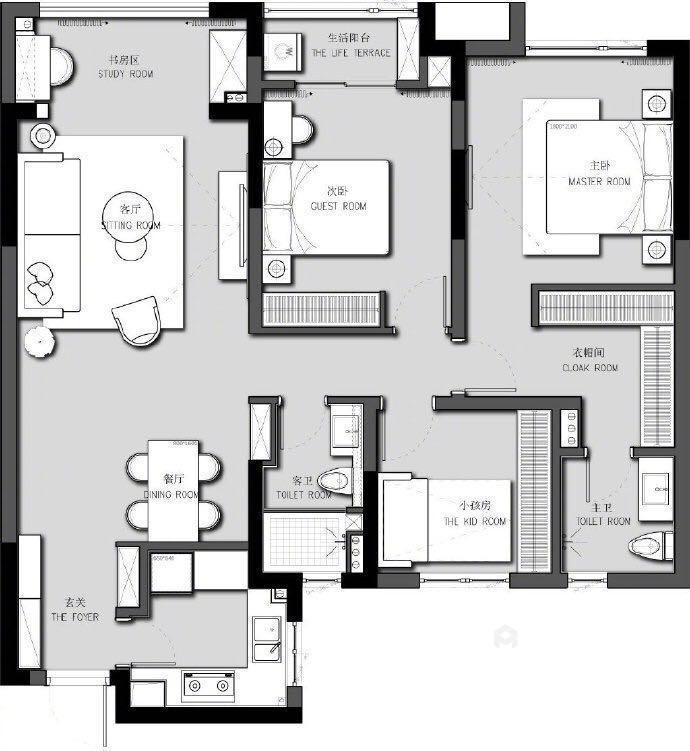 110平名士豪庭现代风格-高级灰的冷色调-平面设计图及设计说明