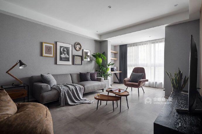 110平名士豪庭现代风格-高级灰的冷色调-客厅效果图及设计说明