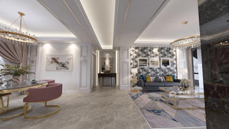95平新城盛景现代风格-轻奢生活,你值得拥有-客厅效果图及设计说明
