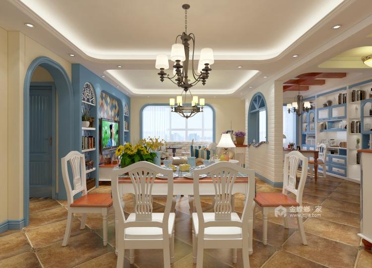 120平万佳天玺地中海风格-当家装爱上地中海的蓝天白云-餐厅效果图及设计说明