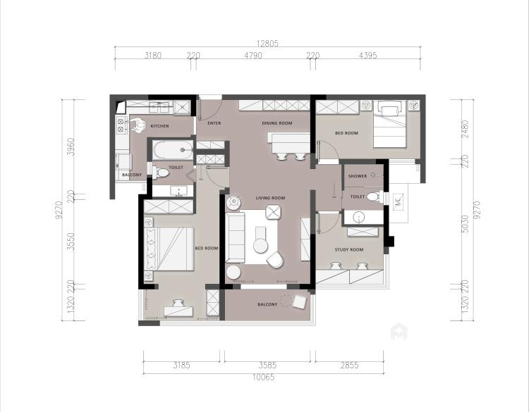 100平龍湖天璞現代風格-一種幸運是可以遇見-平面設計圖及設計說明
