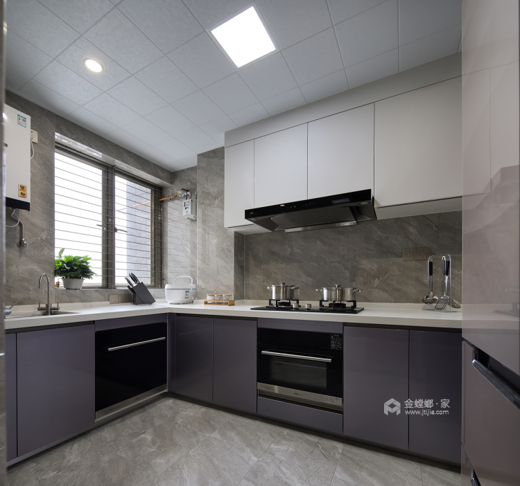 144平五坊园现代风格-黄浦江边,有你作伴,携手启程我们的旅途-厨房