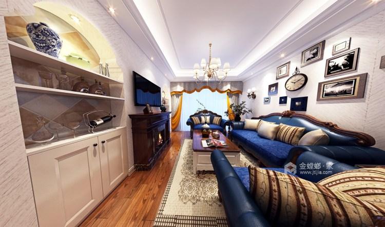 80平五浦汇地中海风格-别样演绎-客厅效果图及设计说明