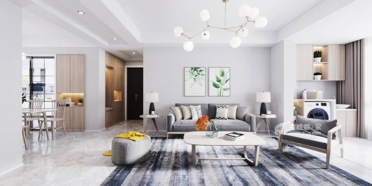 110平柏庄春暖花开北欧风格-逐光-客厅效果图及设计说明