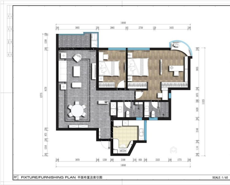 132平苏宁千秋情缘新中式风格-平面设计图及设计说明