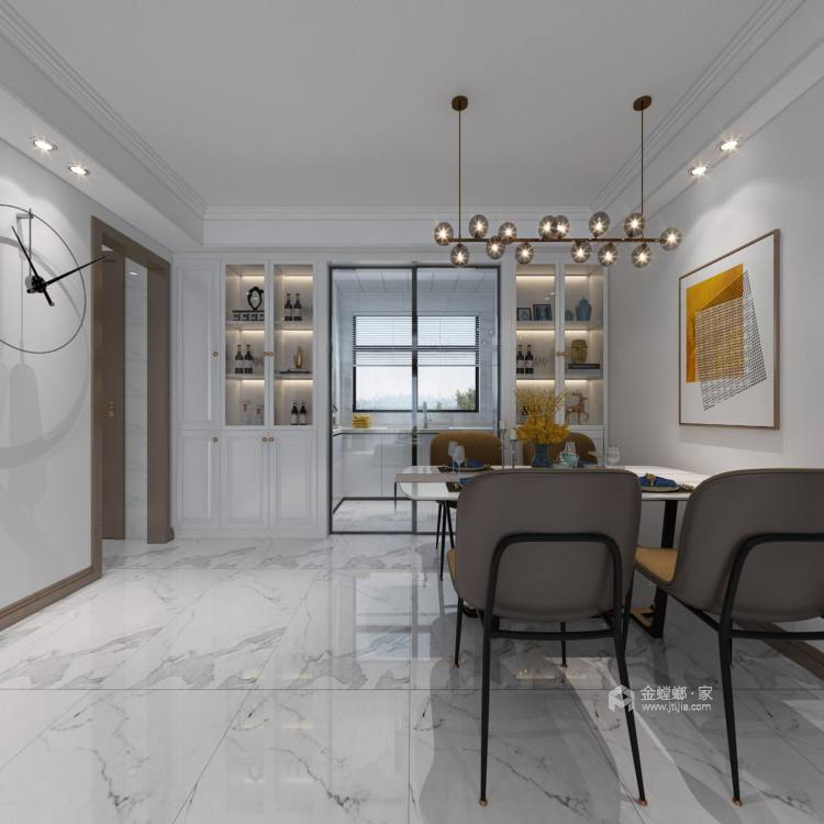 142平财信铂悦府现代轻奢风格-餐厅效果图及设计说明