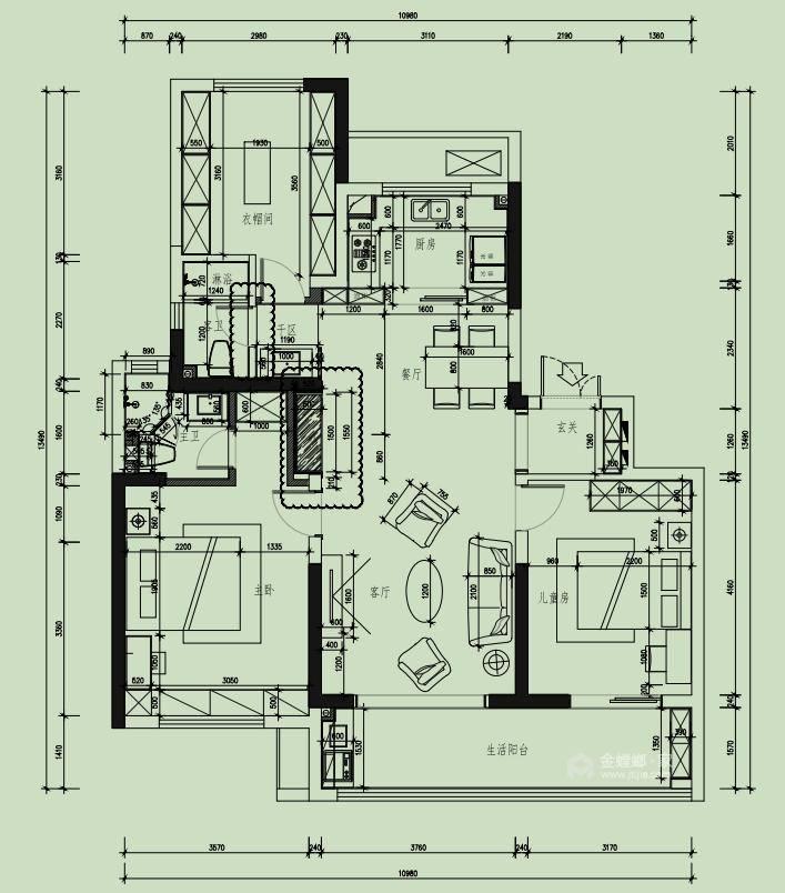 142平财信铂悦府现代轻奢风格-平面设计图及设计说明