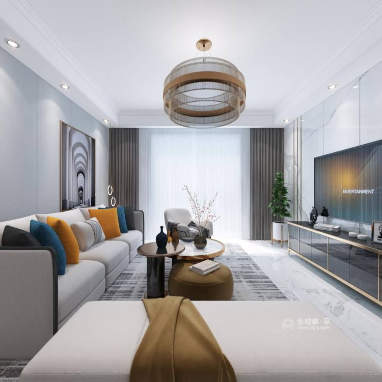 142平财信铂悦府现代轻奢风格-客厅效果图及设计说明