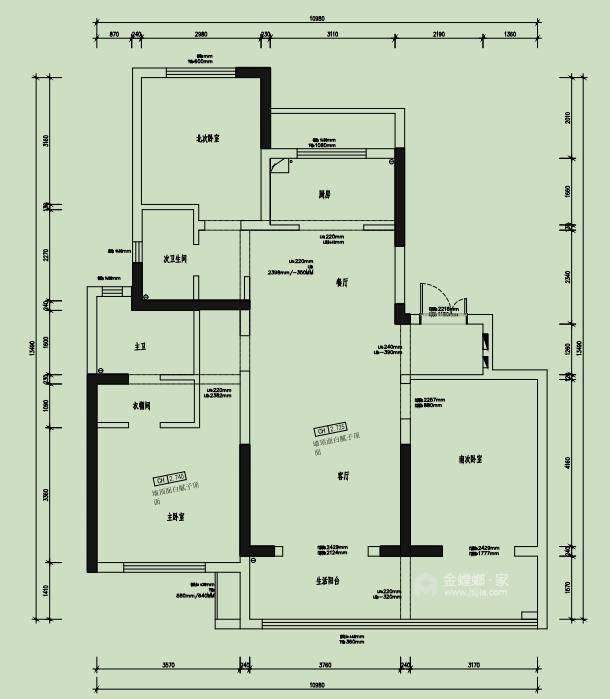 142平财信铂悦府现代轻奢风格-业主需求&原始结构图