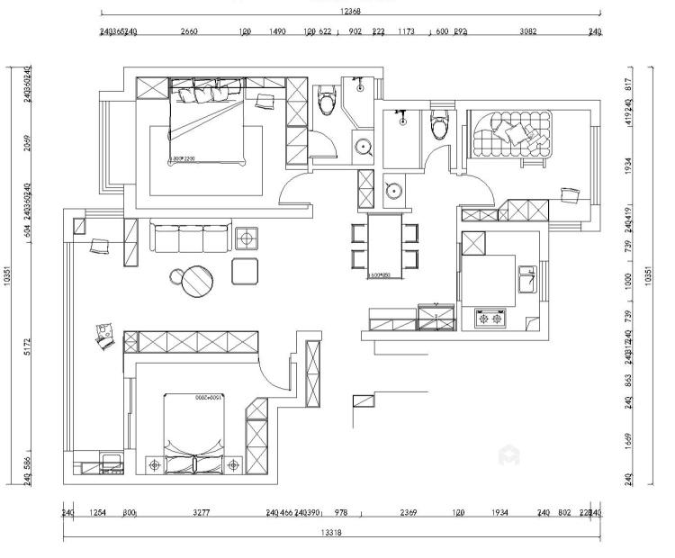110平誉峰苑北欧风格-简单计划-平面设计图及设计说明