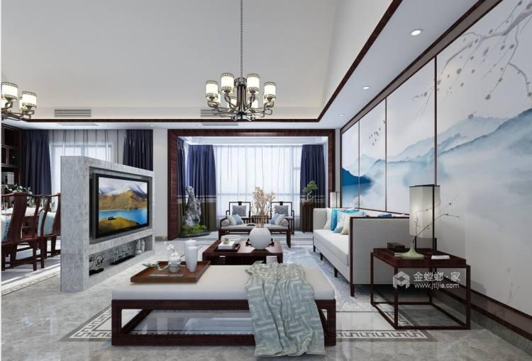 230平美家印象新中式风格-客厅效果图及设计说明