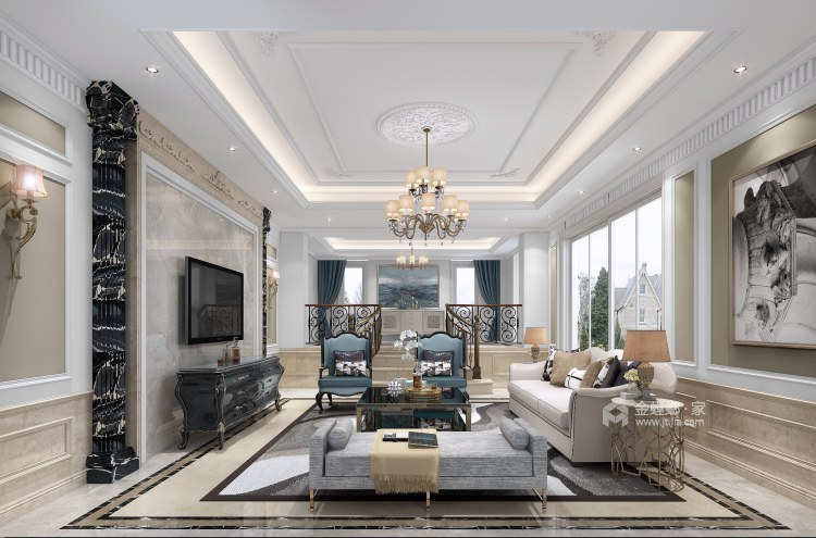 200平北辰香麓欧式风格-视界观-客厅效果图及设计说明