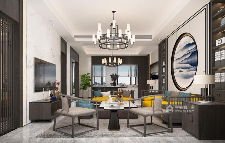 400平荣盛华府新中式风格-静-客厅效果图及设计说明