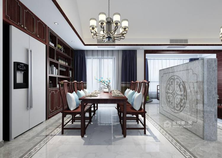 230平美家印象新中式风格-餐厅效果图及设计说明