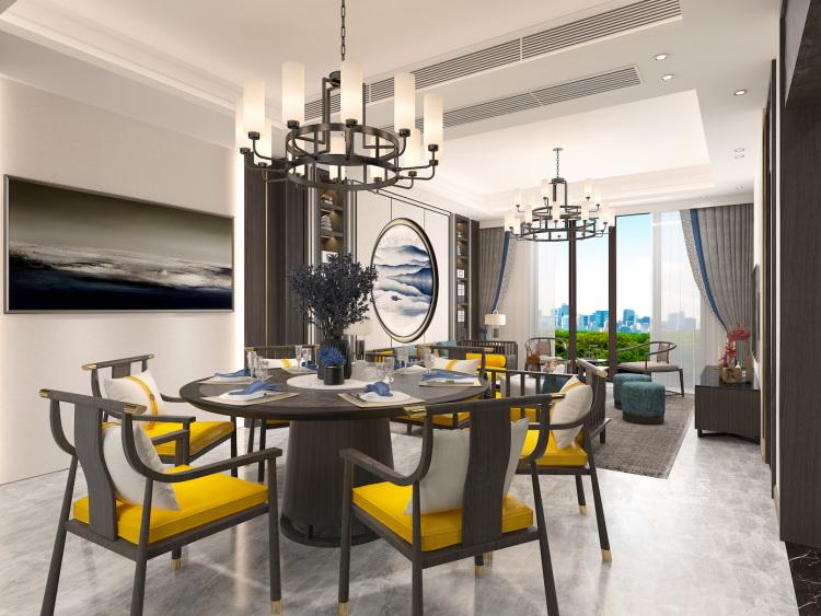 400平荣盛华府新中式风格-静-餐厅效果图及设计说明