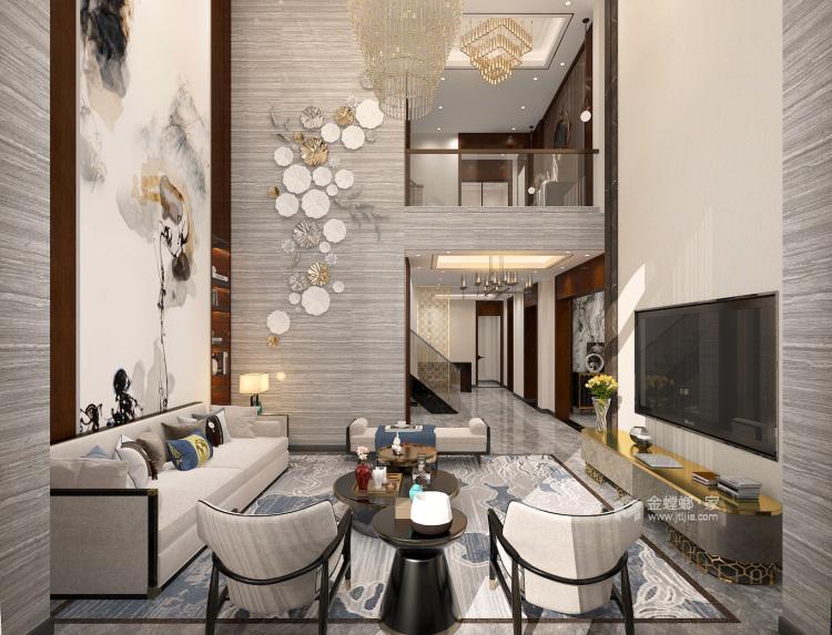 400平自建别墅新中式风格-生活·田间-客厅效果图及设计说明