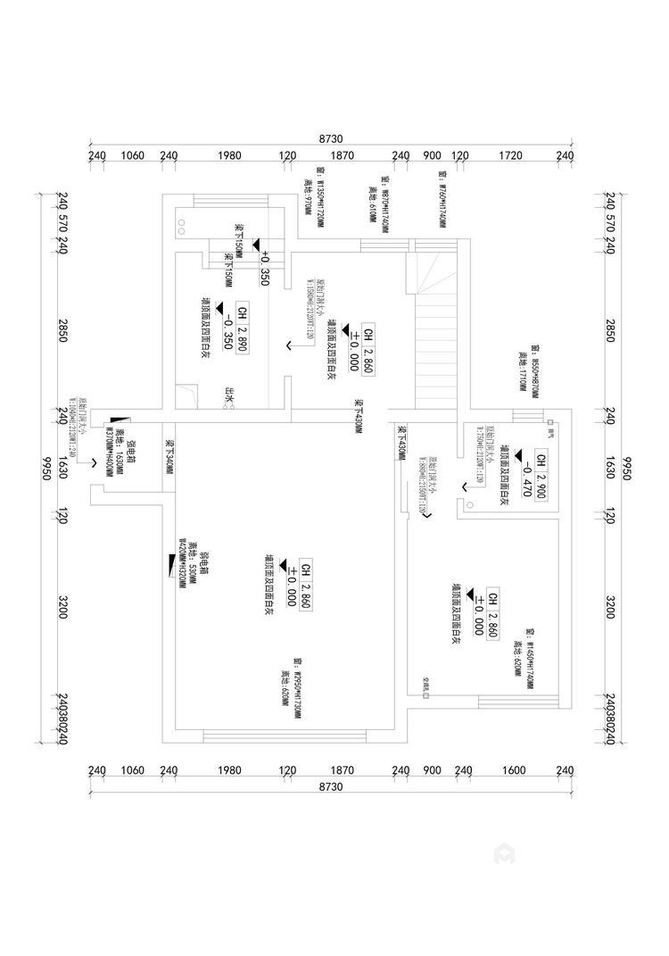 158平天空墅新中式风格-业主需求&原始结构图