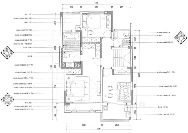 141平狮山原著简美风格-高级又耐看的简美轻奢-平面设计图及设计说明