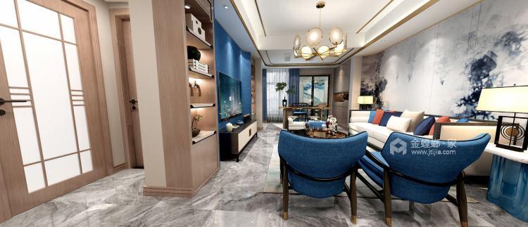 158平天空墅新中式风格-客厅效果图及设计说明